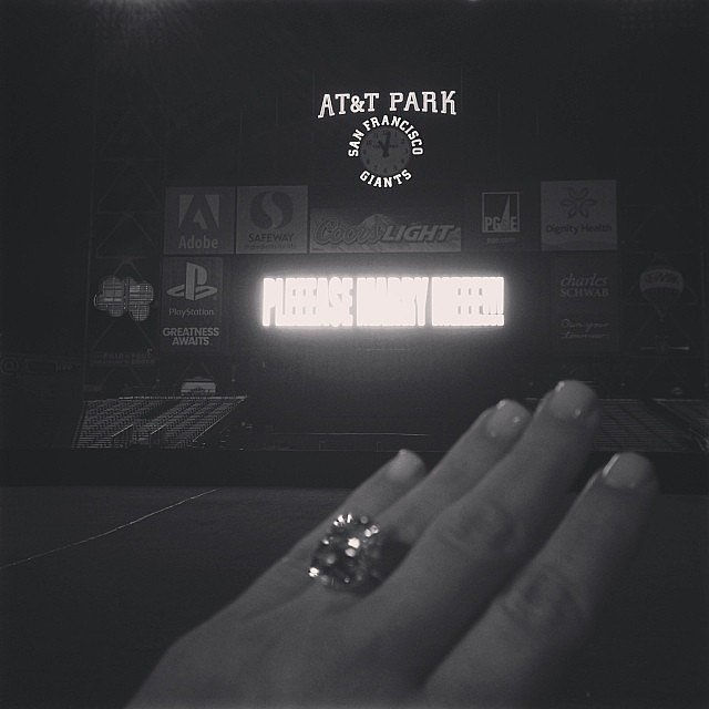 Kim Kardashian shared a snap of her engagement ring after Kanye West proposed. Source: Instagram user kimkardashian