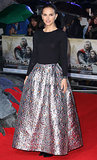Natalie Portman tamed her voluminous metallic maxi skirt with a black top, both by Christian Dior, at the London premiere. She finished with black Charlotte Olympia heels.