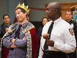 Brooklyn Nine-Nine Andy Samberg gets to be king for a night next to Andre Braugher on Brooklyn Nine-Nine.
