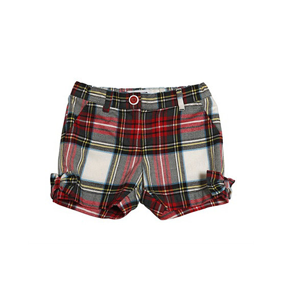 She can wear these flannel shorts ($84-$91) with tights to keep warm while she plays outside.