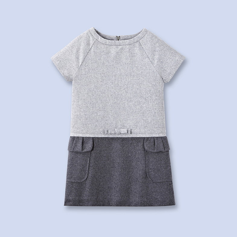 This two-tone gray flannel dress ($149) was made for the little fashionista.