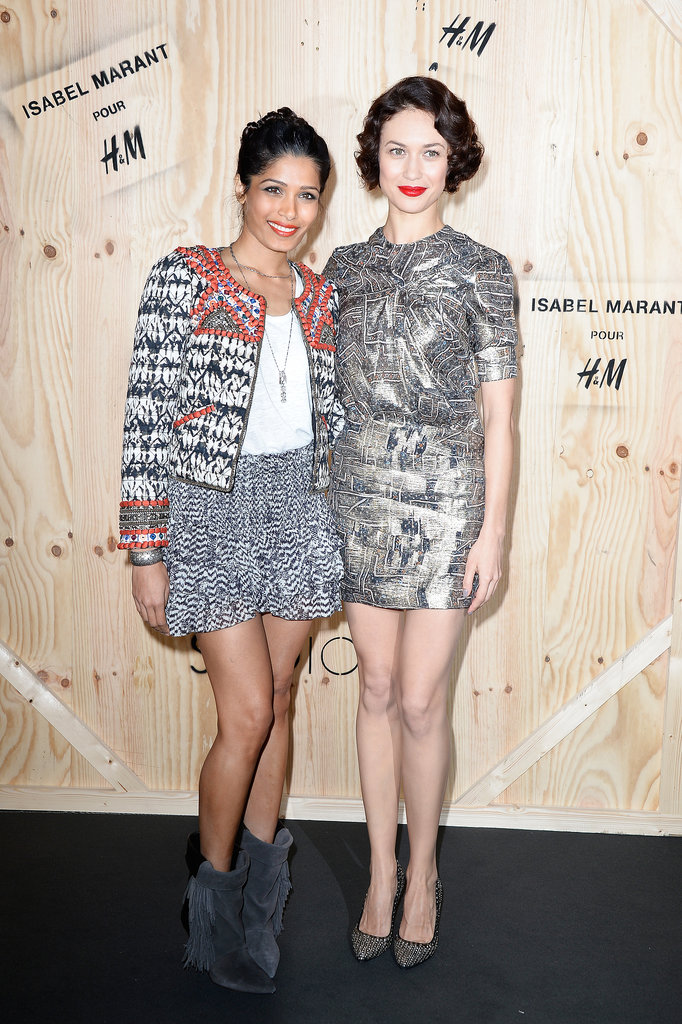 The stunning Freida Pinto and Olga Kurylenko got leggy on the black carpet outside the event.