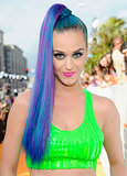 Katy was back to her bold blue hair at the 2012 Kids' Choice Awards.