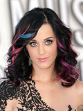 Later in 2010, Katy arrived at the MTV Video Music Awards with her raven hair highlighted with pink, purple, and blue streaks.