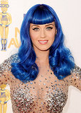 Katy Perry donned a now-iconic royal-blue wig, complete with Bettie Page bangs, at the 2010 MTV Movie Awards.