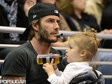 David Beckham put on his game face with Harper Beckham at the LA Kings hockey game on Wednesday.