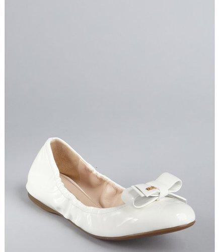 Prada Sport white patent leather flexible bow ballet flats