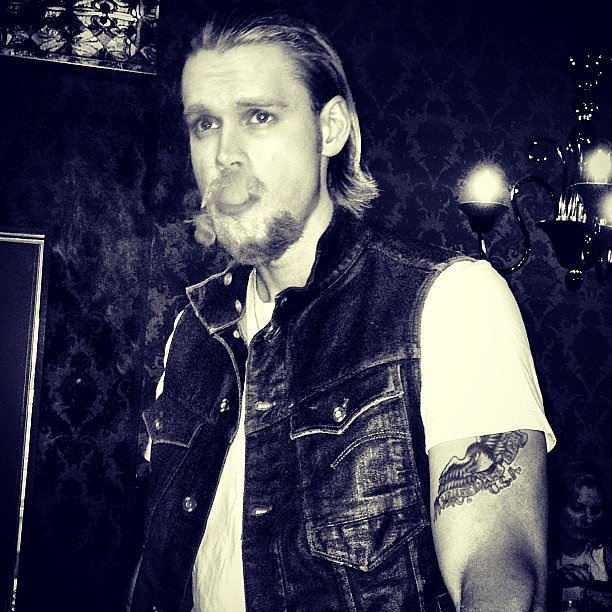Chord Overstreet channeled Charlie Hunnam's Sons of Anarchy character for Hallo