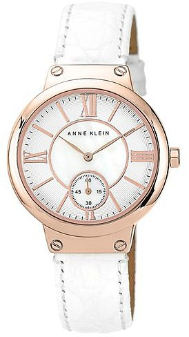 Anne Klein Embossed Leather Strap Watch, 36mm
