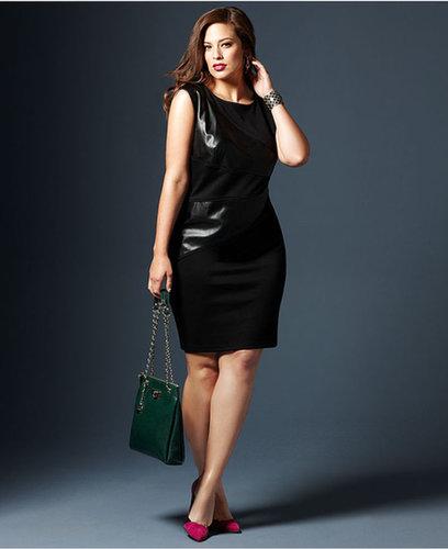 Spense Plus Size Dress, Sleeveless Faux-Leather-Inset Sheath