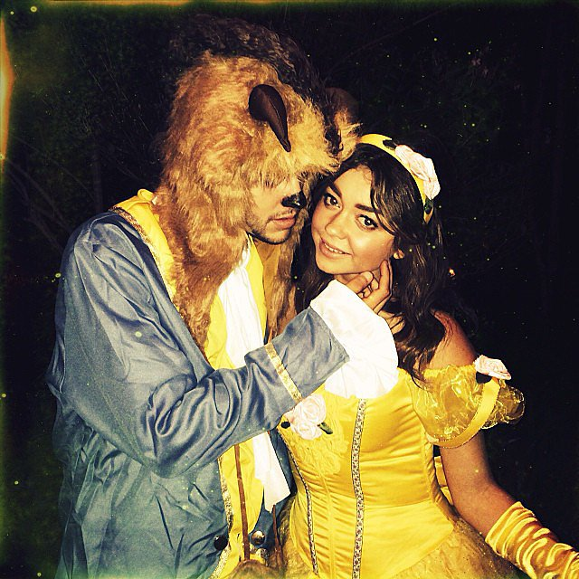 Sarah Hyland dressed up as Belle for Halloween, with her boyfriend Matt Prokop as Beast. Source: Instagram user therealsarahhyl