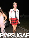 Nicky Hilton went with a classic schoolgirl costume for the Playboy Mansion Halloween party.