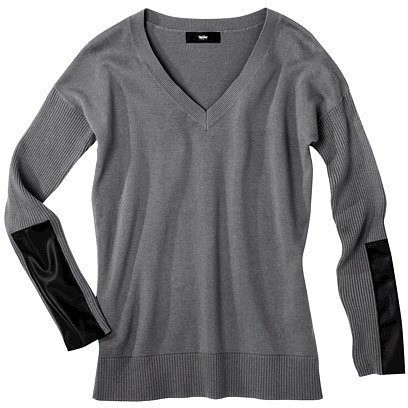 Mossimo® Women's V-Neck Sweater w/ Faux Leather - Assorted Colors