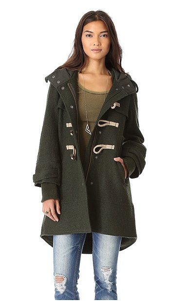 A more dramatic play on the toggle coat in a gorgeous rich green, this
