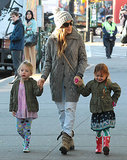 Sarah Jessica Parker walked her twins, Tabitha and Loretta, through NYC on Monday.