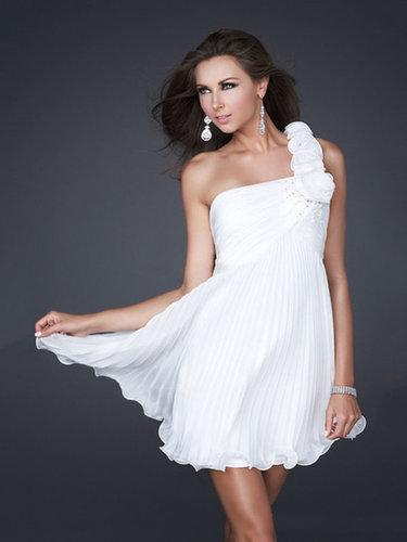 Empire One Shoulder Chiffon Short/Mini Pleats Cocktail Dresses at dressestylish