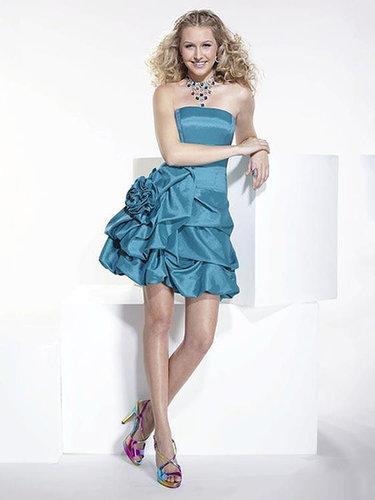 A-line Strapless Taffeta Short/Mini Pick-ups Cocktail Dresses at dressestylish