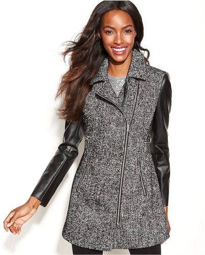 INC International Concepts Coat, Asymmetrical Mixed-Media Faux-Leather-Sleeve