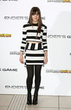 Hailee opted for a boldly striped crop-top ensemble at a photocall in London.