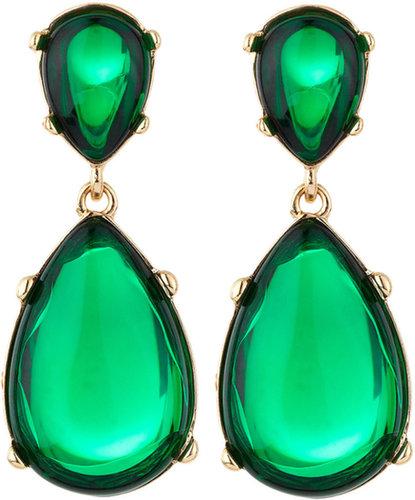 Kenneth Jay Lane Teardrop Cabochon Earrings, Emerald