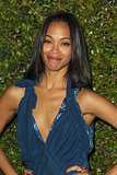 We love her in red lipstick, but purple looks equally stunning on Zoë Saldana. She saved her signature crimson hue for the manicure.