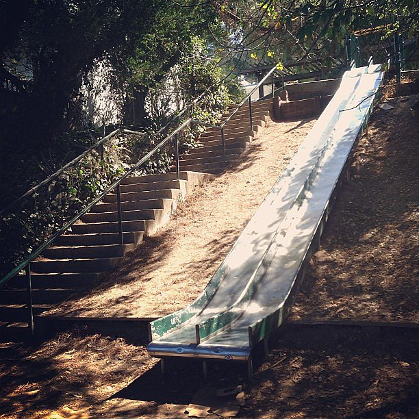 Training for a race can get pretty boring, so keep routes as varied as possible. Throw in hills and stairs when you can, and whenever possible, celebrate the end of a run. Playground slide, anyone? Source: Instagram user thehymes