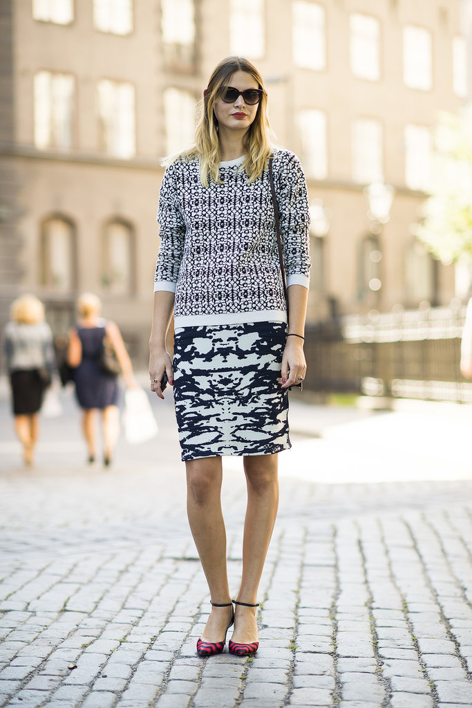 Mixed prints present a whole new way to tackle the pencil skirt and sweater combo.  Source: Le 21ème | Adam Katz Sinding