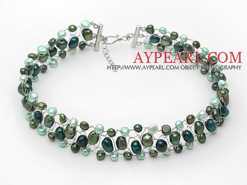 Assorted Forest Green Color Freshwater Pearl Wire Crocheted Choker Necklace
