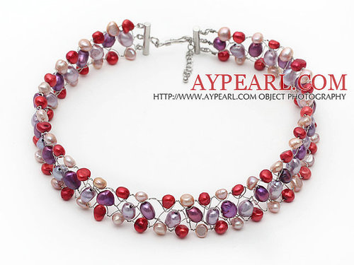 Red Pink and Violet Color Freshwater Pearl Wire Crocheted Choker Necklace