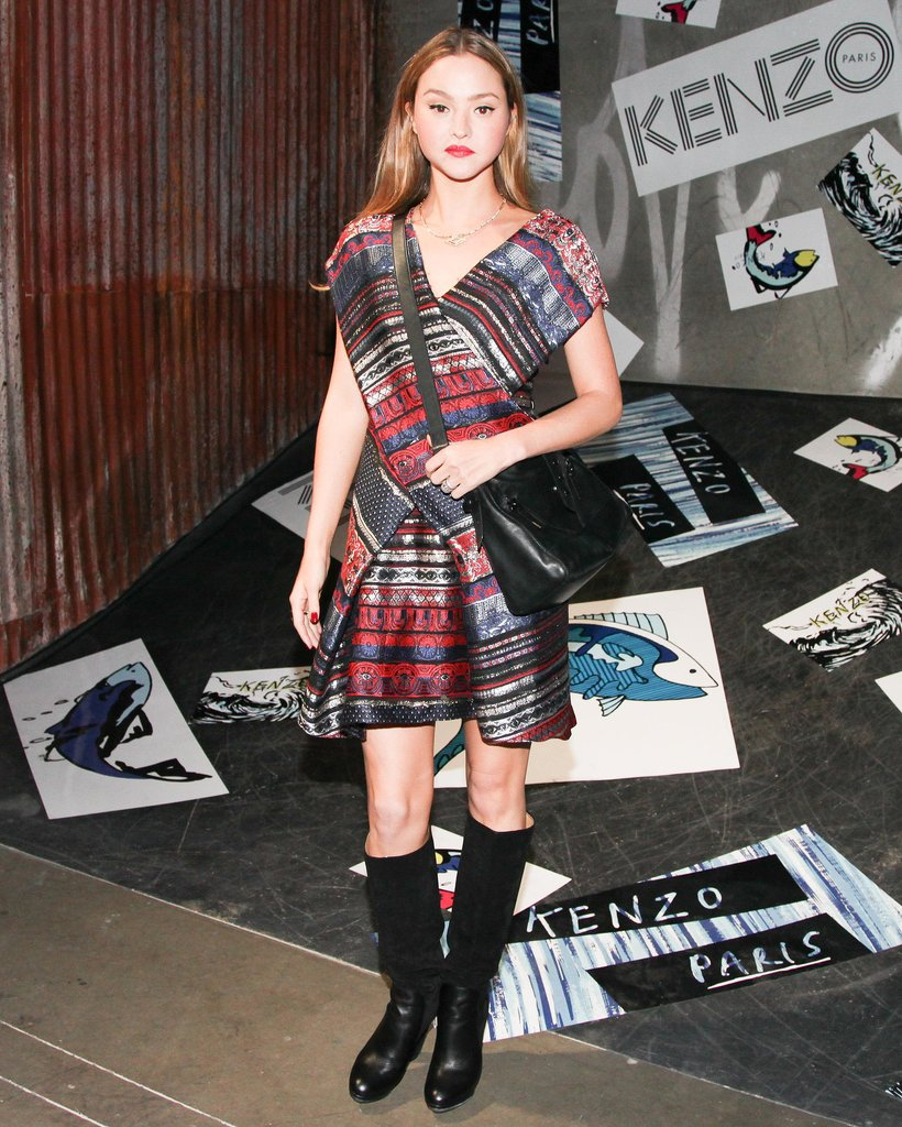 Devon Aoki wore Kenzo's ribbon jacquard dress to the label's LA party.