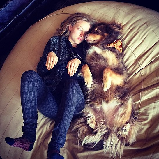 Amanda Seyfriend and her buddy Mingey kicked up their legs (hers in printed pants, his in fur). Source: Instagram user mingey
