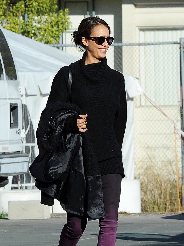 Jessica Alba headed to the LA set of How to Make Love Like an Englishman in LA on Wednesday.
