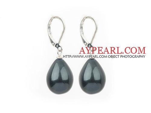 black sea shell pear shape earrings