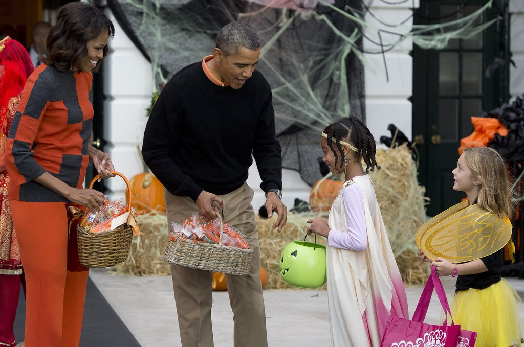 President Barack Obama handed out candy at the White House.
