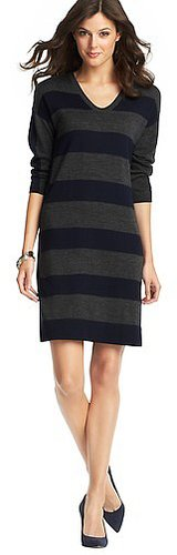 Striped 3/4 Sleeve Sweater Dress