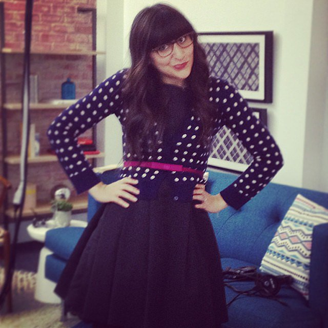 Who's that girl? It's fashion editor Kate Schweitzer, who totally nailed Zooey Deschanel's New Girl look. Source: Instagram user popsugarent