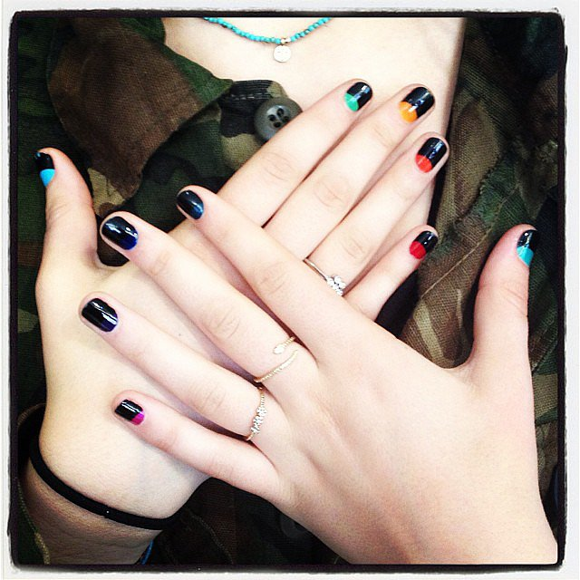 We love this fun take on a half-moon manicure.  Source: Instagram user tenoverten_nyc