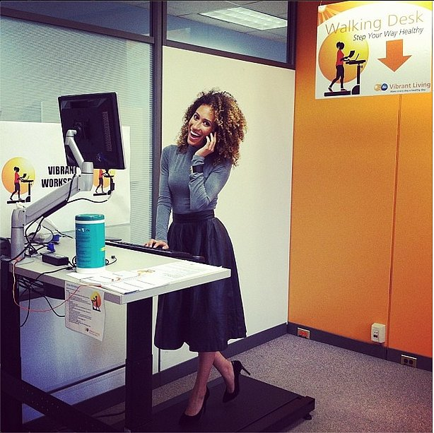 Teen Vogue beauty and health director Elaine Welteroth got a workout in during her workday.  Source: Instagram user elainewelteroth