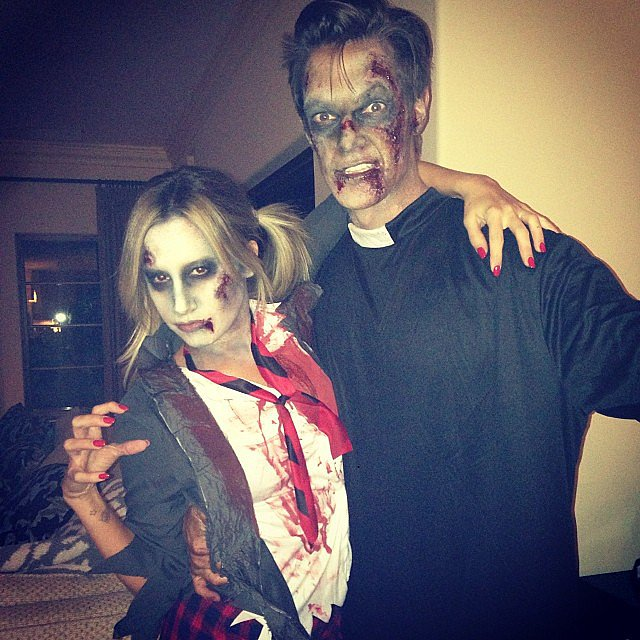 Ashley Tisdale was a zombie schoolgirl while her fiancé Christopher French dressed as a dead priest. Source: Instagram user ashleytis