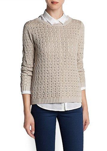 Metallic openwork knit sweater