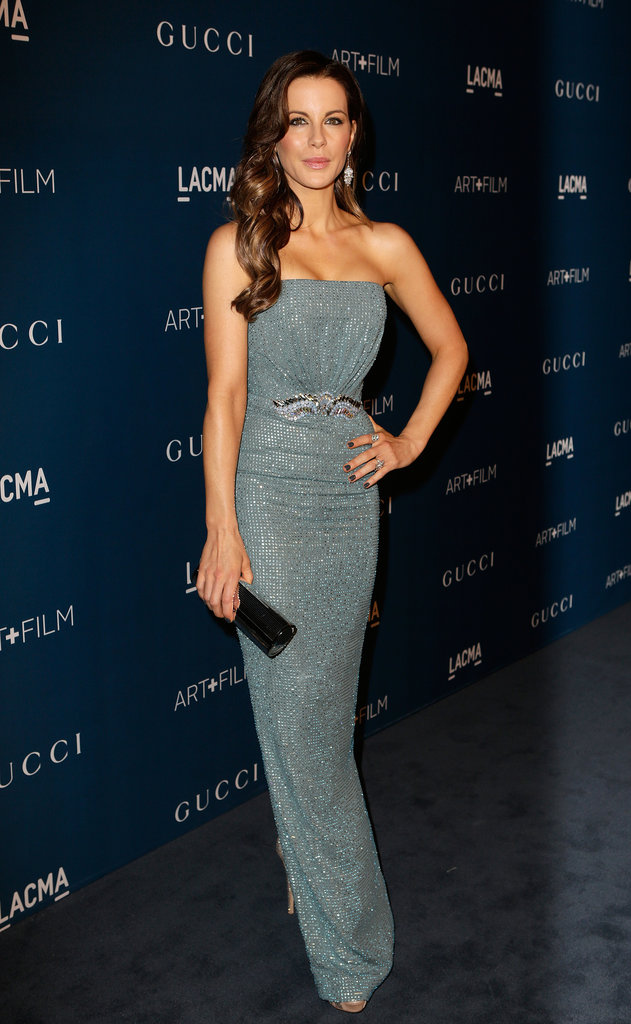 It was hard to shine brighter than Kate Beckinsale, who positively sparkled in a crystallized light blue Gucci dress. The waist, cinched with ornate stonework, added extra glam, as did her clutch and platform sandals, both by Jimmy Choo.