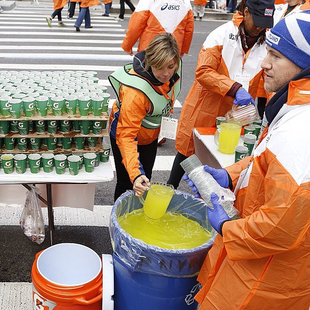Getting the Gatorade ready for the onslaught of runners. It is estimated that 2.3 million paper cups are used on race day.  Source: Instagram user newyorkermag