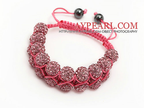 elegant layer style 10mm pink rhinestone wowen adjustable pink drawstring bracelet