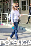Reese Witherspoon wore jeans and a white top.