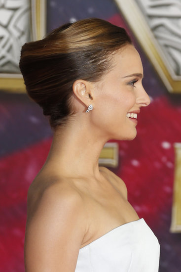 Looking for an updo that will accommodate shoulder-length strands? Turn to Natalie Portman's classic french-roll hairstyle.