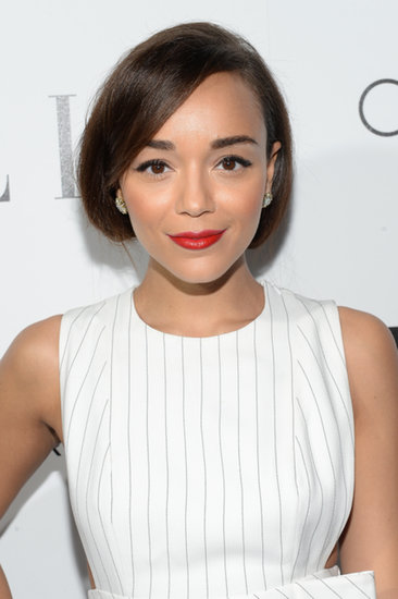 Want to give your friends a shock? Pull your hair into a faux bob like this one spotted on Ashley Madekwe. It's a good choice if your dress has a halter or embellished neckline. Oh, and don't forget the red lipstick.