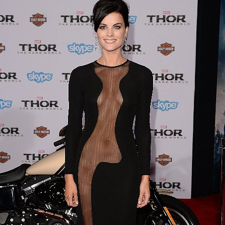 Jaimie Alexander in Sheer Black Dress at Thor Premiere