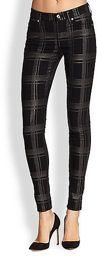 7 For All Mankind Metallic Plaid Skinny Jeans