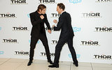 Tom Hiddleston fake fought with Chris Hemsworth.
