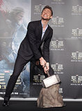 Tom Hiddleston tried to lift Thor's hammer.